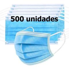 500 Mascaras Tripla 3ply Meltblown cloth Azul Claro Earloop